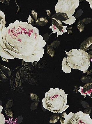 Black Floral Wide Lace Shine Hipster Panty, , alternate