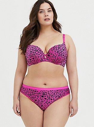 Plus Size Super Soft Hot Pink Heart Leopard Microfiber Thong Panty, , alternate