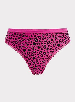 Plus Size Super Soft Hot Pink Heart Leopard Microfiber Thong Panty, , flat