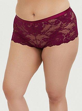 Berry Purple Lace Cheeky Panty , NAVARRA, hi-res
