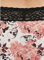 Plus Size Pink Skull Floral & Black Wide Lace Shine Cheeky Panty, GRACEFUL SKULL, alternate