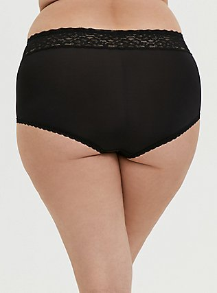 Plus Size Black Wide Lace Shine Brief Panty, RICH BLACK, alternate