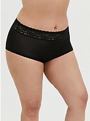 Black Wide Lace Shine Brief Panty, RICH BLACK, hi-res