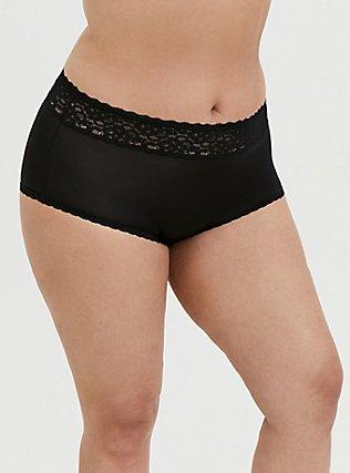 Plus Size Black Wide Lace Shine Brief Panty, RICH BLACK, hi-res