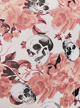 Pink Skull Floral & Black Wide Lace Shine Brief Panty, GRACEFUL SKULL, alternate