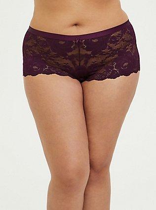 Grape Purple Lace Cheeky Panty, POTENT PURPLE, hi-res