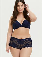 Plus Size Navy Lace Cheeky Panty, PEACOAT, alternate
