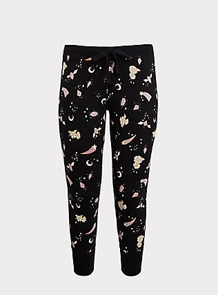 Black Crystal Floral Sleep Legging, MULTI, flat