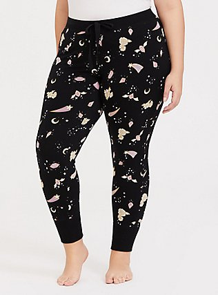 Black Crystal Floral Sleep Legging, MULTI, hi-res