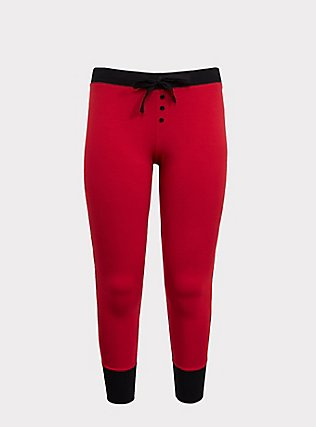 Black & Red Sleep Legging, RED, flat
