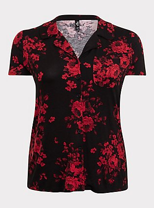 Black & Red Floral Sleep Shirt, MULTI, flat