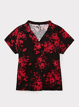 Black & Red Floral Sleep Shirt, MULTI, pdped