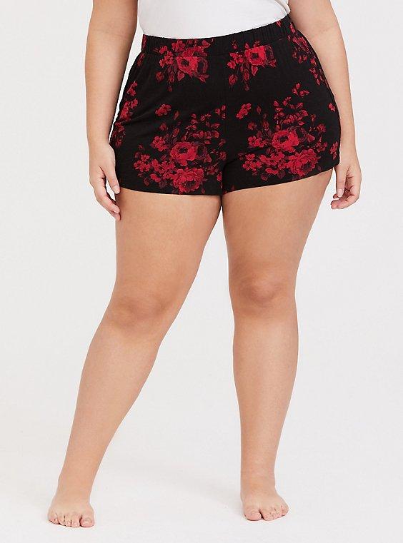 Red & Black Floral Sleep Short, , hi-res