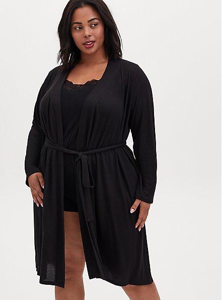 Black Self-Tie Sleep Robe, DEEP BLACK, alternate