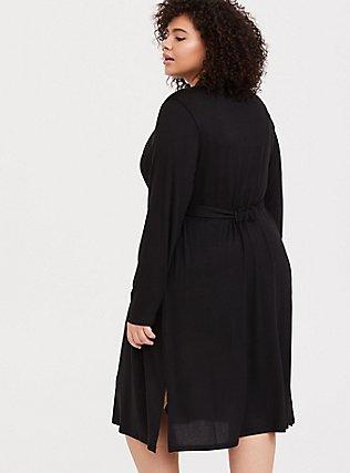 Plus Size Black Self-Tie Sleep Robe, DEEP BLACK, alternate