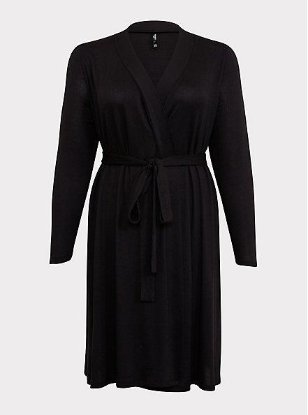 Black Self-Tie Sleep Robe, DEEP BLACK, hi-res