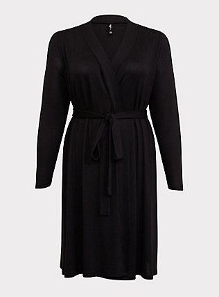 Plus Size Black Self-Tie Sleep Robe, DEEP BLACK, flat