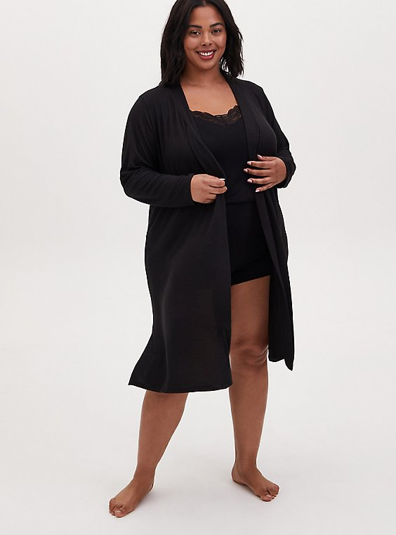 Black Self-Tie Sleep Robe, , hi-res