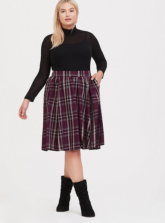 Burgundy Purple Plaid Swing Midi Skirt, , hi-res