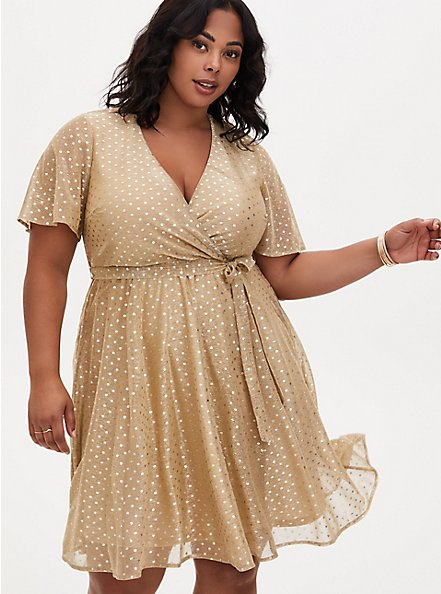 Gold Metallic Polka Dot Mesh Wrap Dress, , alternate