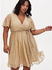 Gold Metallic Polka Dot Mesh Wrap Dress, , alternate