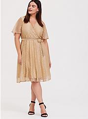 Gold Metallic Polka Dot Mesh Wrap Dress, , hi-res