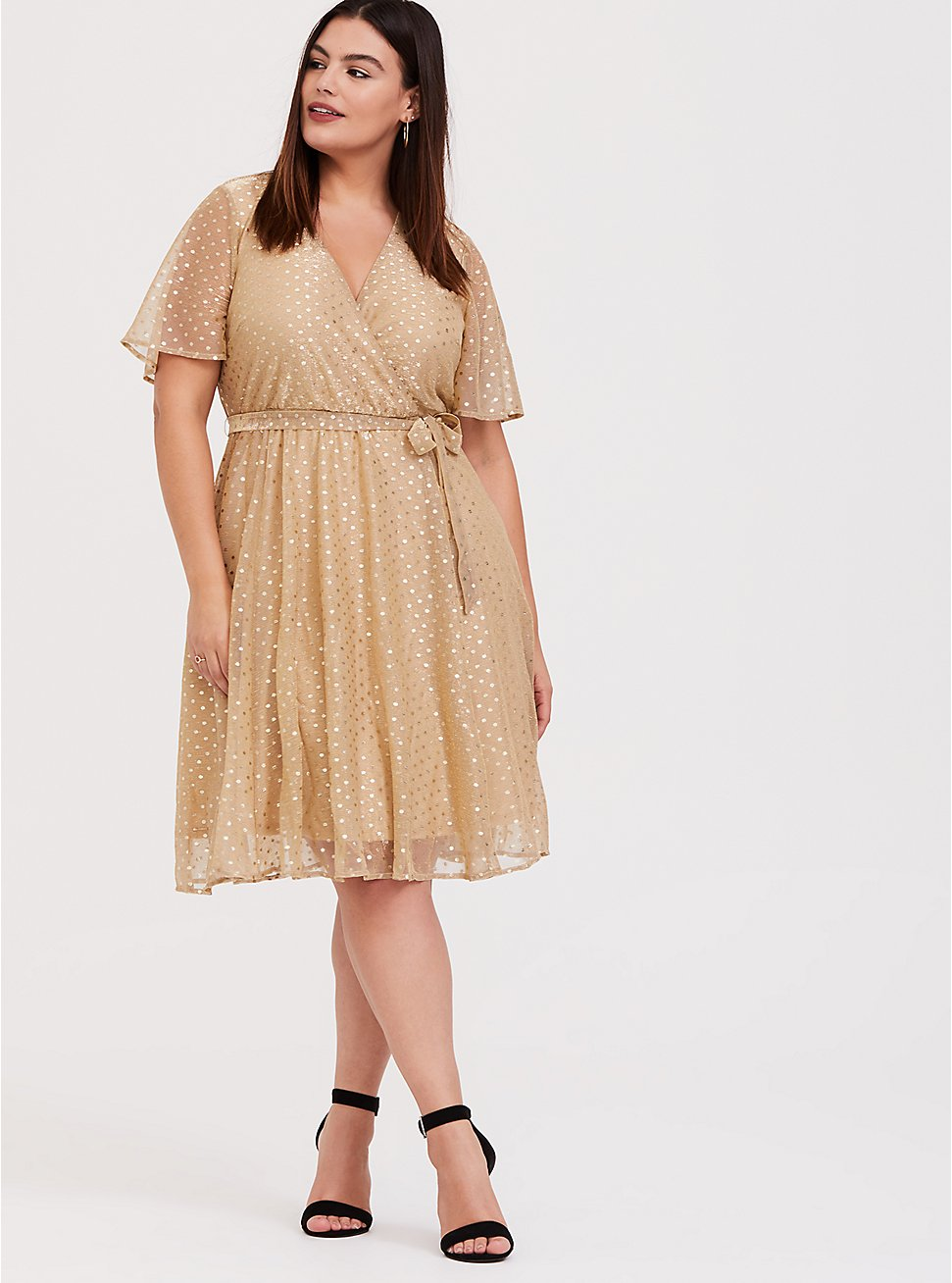 Gold Metallic Polka Dot Mesh Wrap Dress, , fitModel1-hires