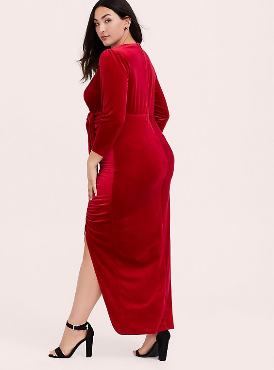 Red Velvet Shirred High Slit Maxi Dress, , hi-res