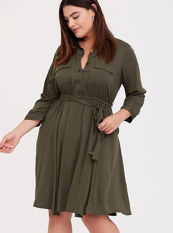 Olive Green Challis Tie Front Shirt Dress, , hi-res