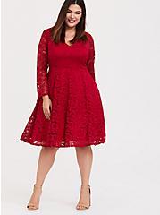 Dark Red Lace V-Neck Skater Dress, JESTER RED, alternate
