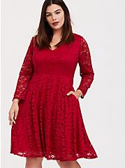 Dark Red Lace V-Neck Skater Dress, JESTER RED, hi-res