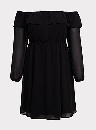 Black Chiffon Off Shoulder Ruffle Skater Dress, DEEP BLACK, flat