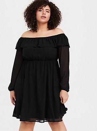 Black Chiffon Off Shoulder Ruffle Skater Dress, DEEP BLACK, hi-res