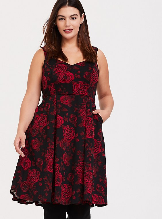 Black & Red Floral Scuba Skater Dress - Plus Size | Torrid