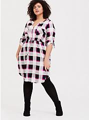 Hot Pink Plaid Challis Zip Shirt Dress, PLAID - PINK, alternate