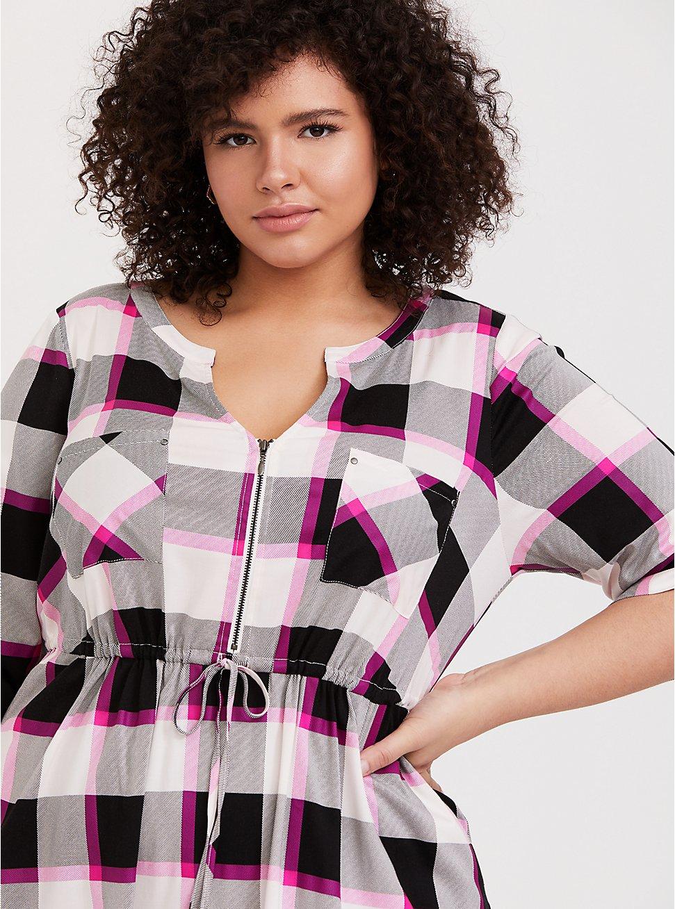 Hot Pink Plaid Challis Zip Shirt Dress, PLAID - PINK, hi-res