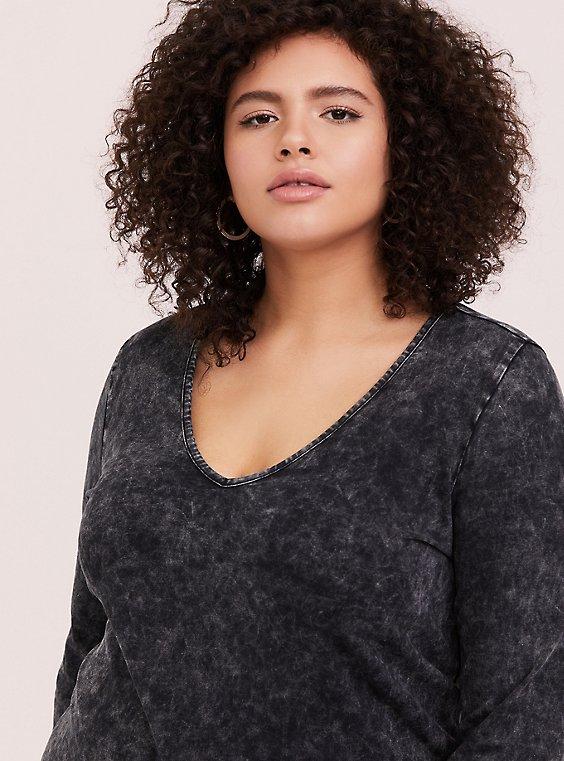 Plus Size Black Mineral Wash Jersey V-Neck Shirt Dress, , hi-res