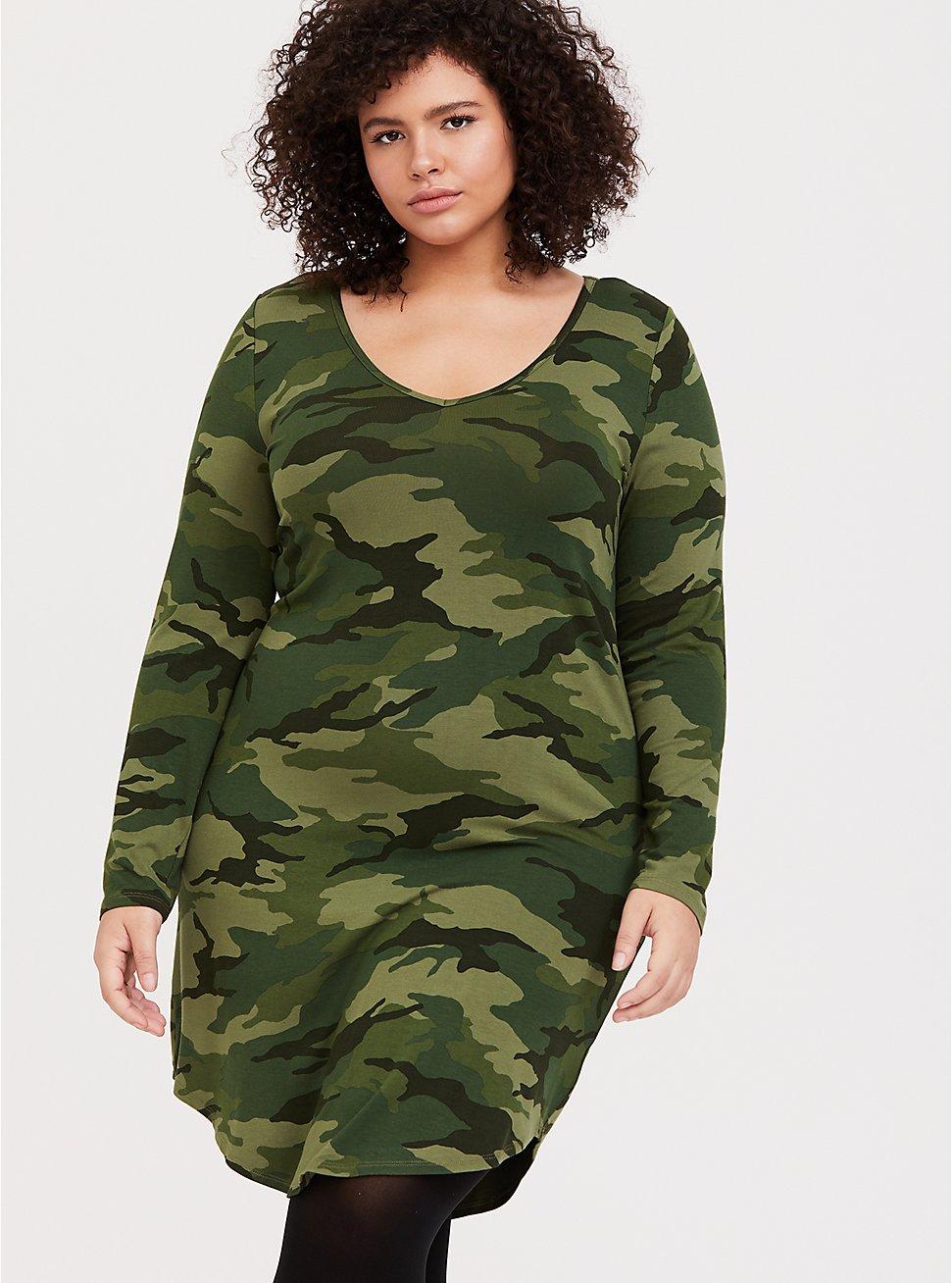 Green Camo Jersey T-shirt Dress 4
