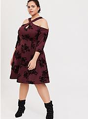 Burgundy Purple Flocked Scuba Knit Halter Skater Dress, ROSEY FLOCK, alternate