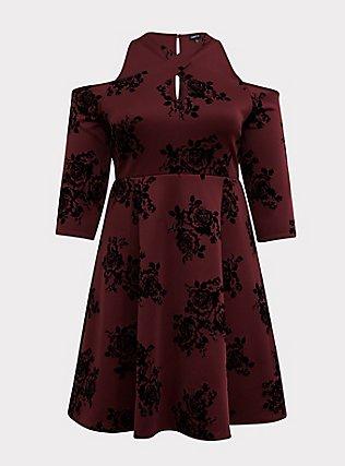 Burgundy Purple Flocked Scuba Knit Halter Skater Dress, ROSEY FLOCK, flat