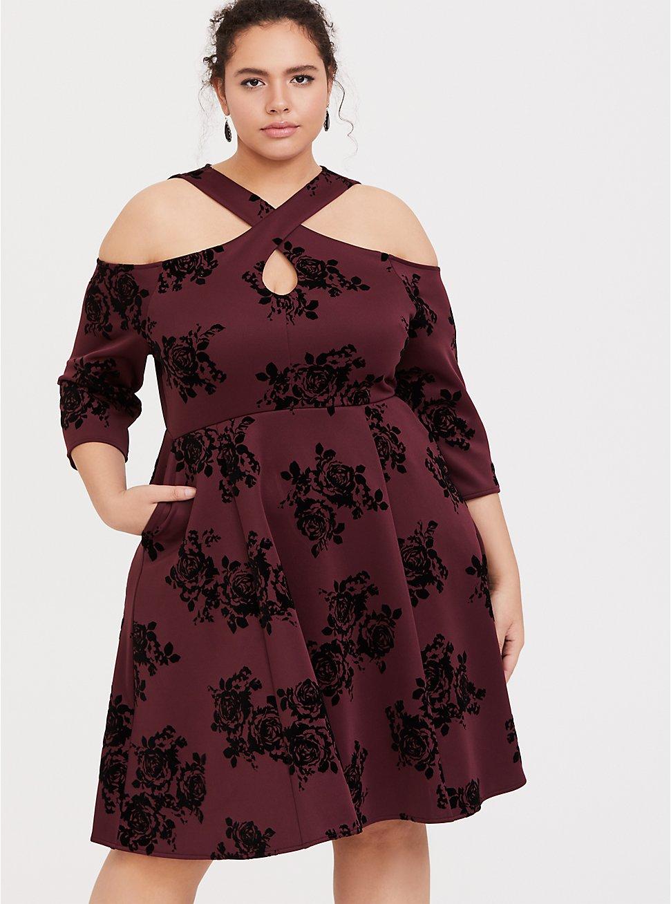 Burgundy Purple Flocked Scuba Knit Halter Skater Dress, ROSEY FLOCK, hi-res