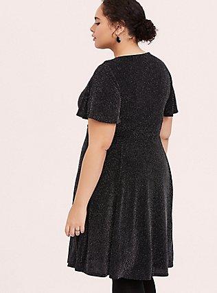 Black & Silver Flutter Sleeve Glitter Skater Dress, , alternate