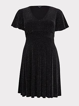 Black & Silver Flutter Sleeve Glitter Skater Dress, , flat