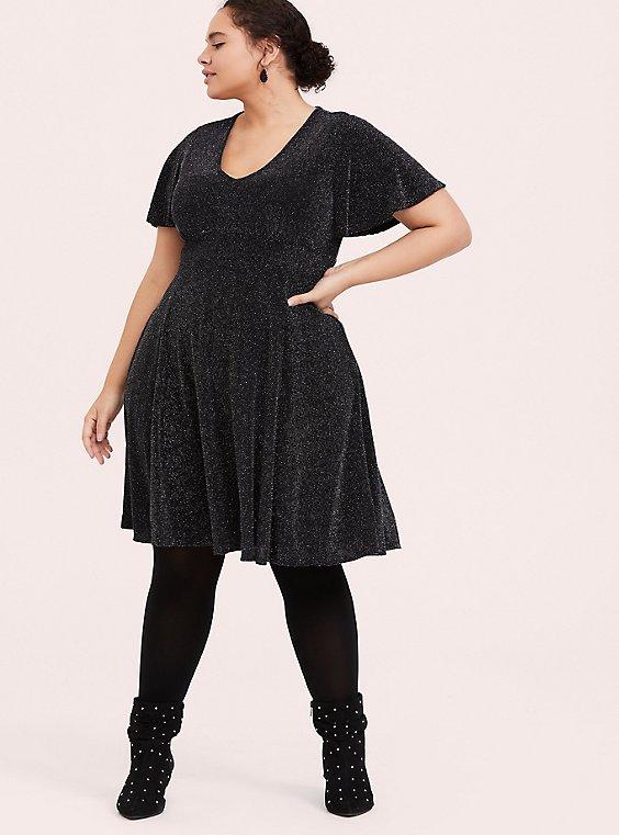 Black & Silver Flutter Sleeve Glitter Skater Dress, , hi-res