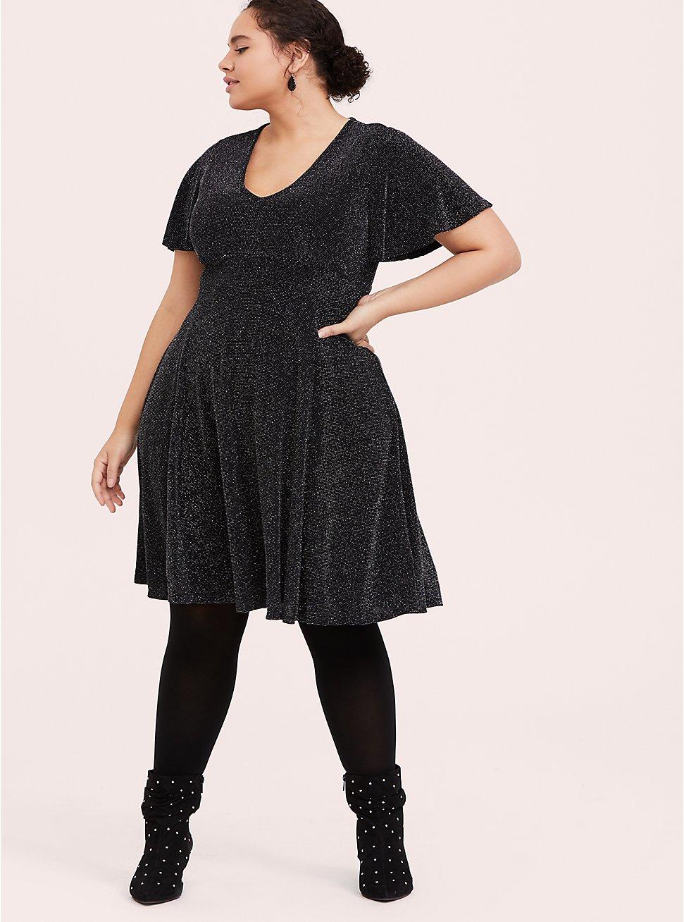 Black & Silver Flutter Sleeve Glitter Skater Dress