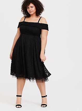 Black Lace Cold Shoulder Skater Dress, DEEP BLACK, alternate