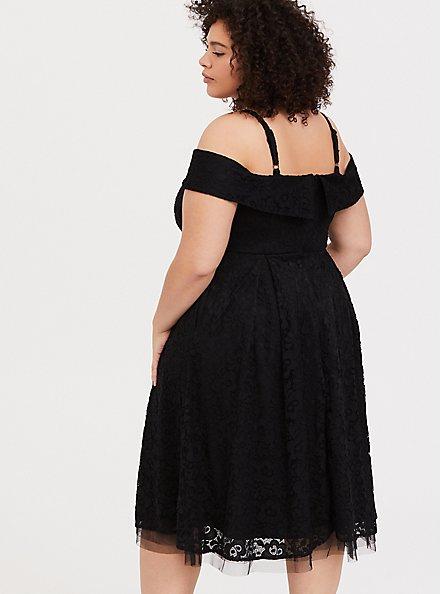 Black Lace Cold Shoulder Skater Dress, DEEP BLACK, alternate