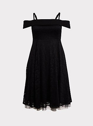 Black Lace Cold Shoulder Skater Dress, DEEP BLACK, flat