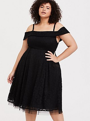 Black Lace Cold Shoulder Skater Dress, DEEP BLACK, hi-res