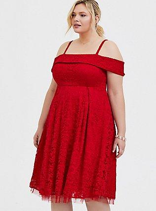 Red Lace Cold Shoulder Skater Dress, BLOOD RED, alternate